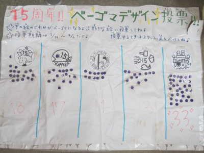 (写真)15周年記念ベーゴマのデザイン投票表