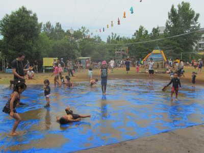 頭上にはったホースの穴から水が出てくる散水シャワーで遊ぶ子どもたち